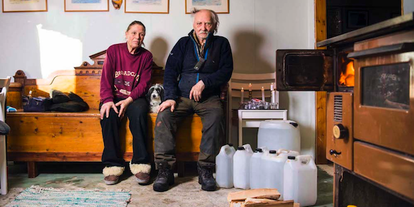 Margareta Kuhmunen, 68, and her husband reindeer herder Lars Kuhmunen, 75, live in a former fox breeding farm. The old butchery is now their kitchen. The whole house is heated by a wood stove.